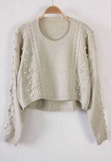 Beige Long Sleeve Fluff Chunky Crop Sweater