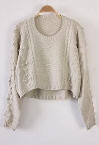 Beige Long Sleeve Fluff Chunky Crop Sweater