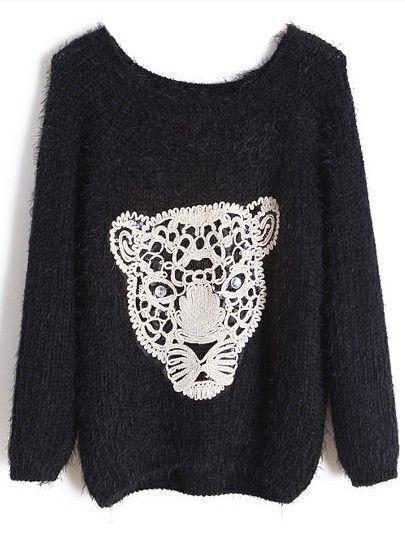 Black Long Sleeve Leopard Pattern Mohair Sweater