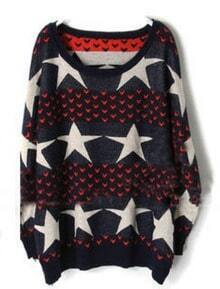 Red Blue Stars Heart Pattern Batwing Sweater