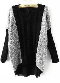 Grey Black Sequined Contrast Chiffon Asymmetrical Sweater