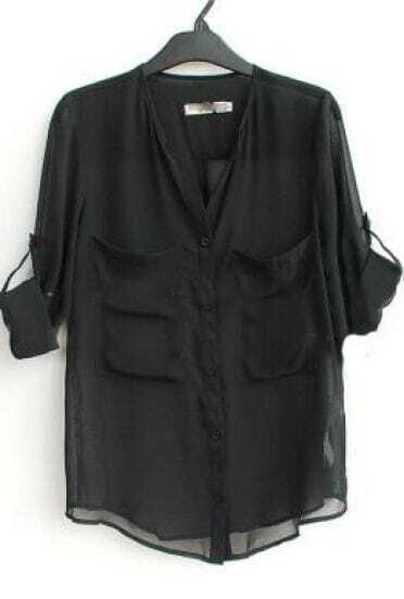 Black V Neck Roll Long Sleeve Two Pockets Chiffon Blouse