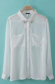 White Rhinestone Lapel Long Sleeve Sheer Chiffon Blouse