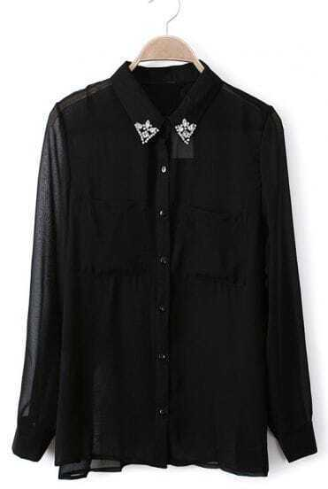 Balck Rhinestone Lapel Long Sleeve Sheer Chiffon Blouse