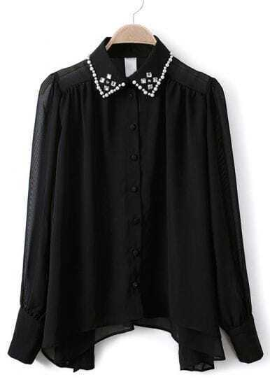Black Long Sleeve Rhinestone Sheer Chiffon Blouse