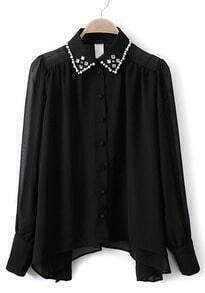 Black Long Sleeve Rhinestone Sheer Chiffon Blouse