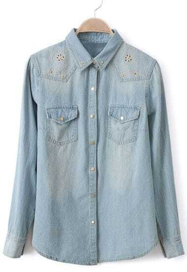 Light Blue Long Sleeve Rivet Bleached Denim Blouse