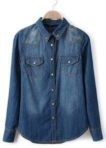 Blue Long Sleeve Rivet Bleached Denim Blouse