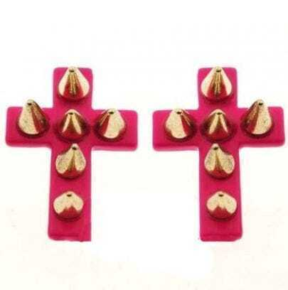 Pink Cross Rivet Stud Earrings