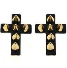 Black Cross Rivet Stud Earrings