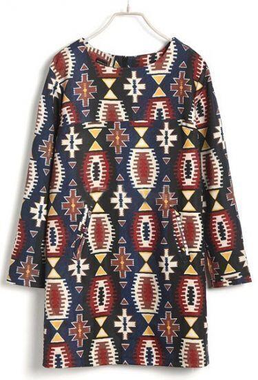 Navy Long Sleeve Geometric Tribal Print Dress