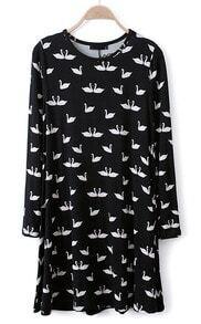 Black Long Sleeve Swan Print Loose Dress