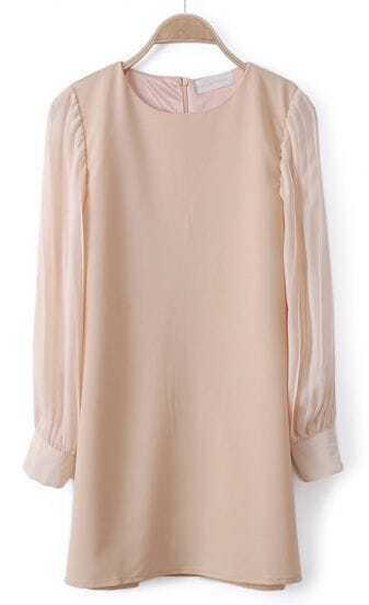 Pink Contrast Pleated Chiffon Long Sleeve Dress