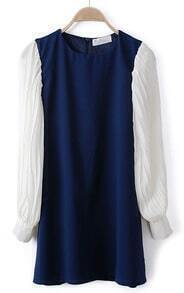 Navy Contrast Pleated Chiffon Long Sleeve Dress