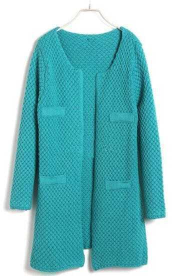 Blue Long Sleeve Pineapple Patterned Cardigan Sweater