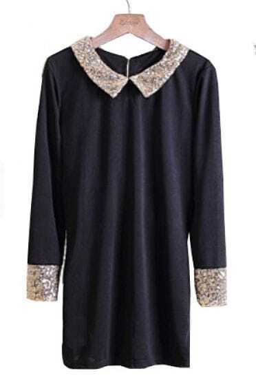 Black Sequined Lapel Long Sleeve Dress