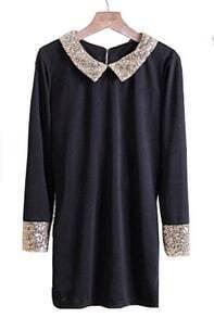 Black Sequined Lapel Long Sleeve Dress