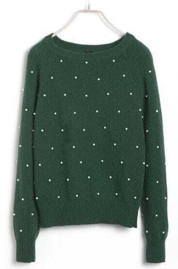Green Raglan Sleeve Pearls Embellished Sweater