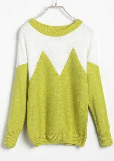 White Green Batwing Long Sleeve Zigzag Sweater