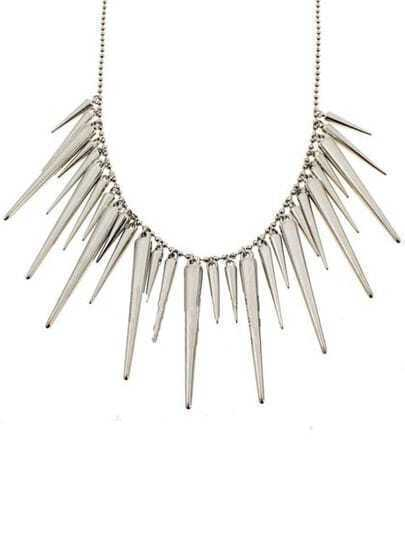 Silver Spike Beaded Necklace