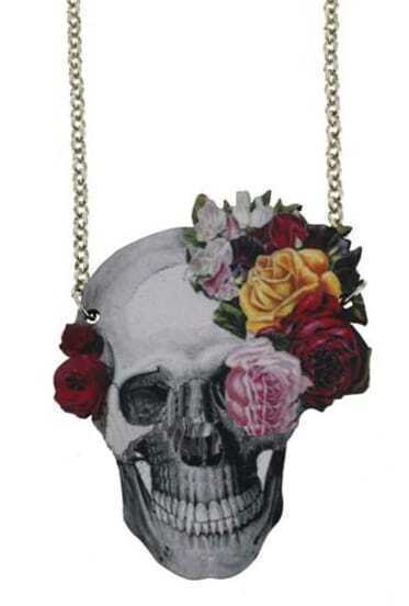 Skull Flowers Chain Necklace