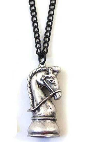 Retro Silver Chess Chain Necklace