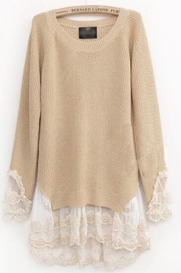 Beige Long Sleeve Contrast Lace Pullovers Sweater