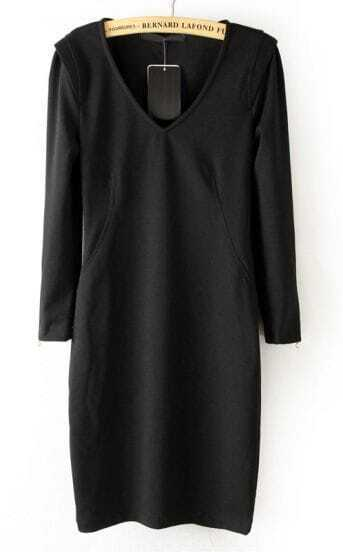 Black V Neck Long Sleeve Cuff Zipper Dress