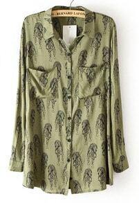 Green Lapel Long Sleeve Tiger Print Blouse