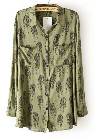 Green Lapel Long Sleeve Tiger Print Blouse