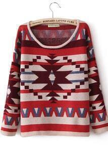 Burgundy Geometric Pattern Dropped Shoulder Sweater
