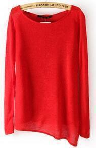 Red Long Sleeve Asymmetrical Hem Pullover Sweater