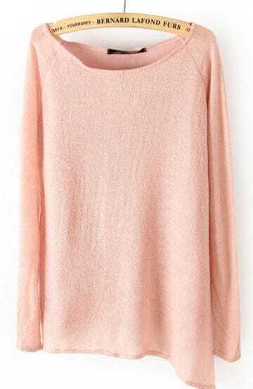 Pink Long Sleeve Asymmetrical Hem Pullover Sweater