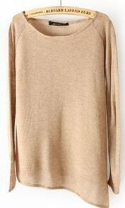 Khaki Long Sleeve Asymmetrical Hem Pullover Sweater