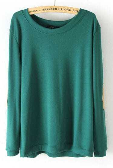 Green Long Sleeve Elbow Patch Pullover Sweater