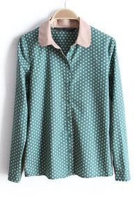 Green Contrast Collar Long Sleeve Polka Dot Blouse