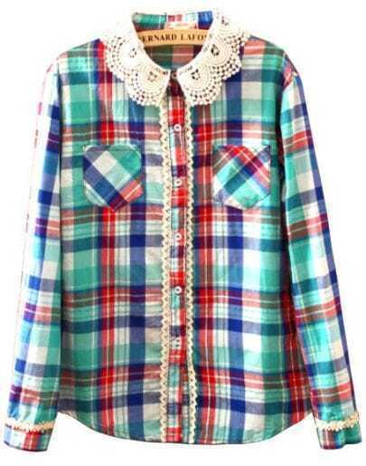 Turquoise Contrast Lace Plaid Pockets Blouse