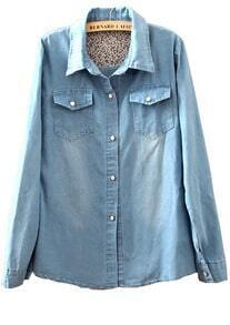 Blue Pearls Buttons Lining Floral Denim Blouse