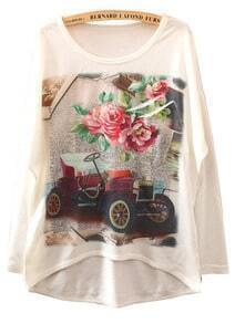 White Long Sleeve Classic Cars Print Asymmetrical T-Shirt
