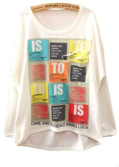White Long Sleeve Plaid Print Asymmetrical T-Shirt