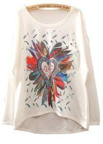 White Long Sleeve Heart Print Asymmetrical T-Shirt