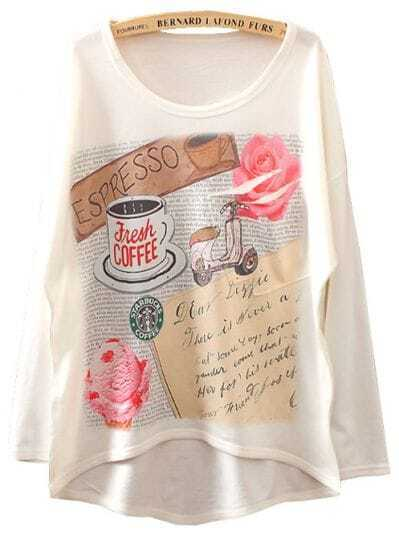 White Long Sleeve Love Letter Print Asymmetrical T-Shirt