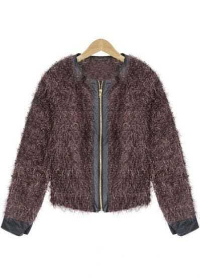 Brown PU Leather Long Sleeve Zipper Coat