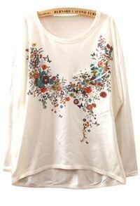 White Long Sleeve Spring Flowers Print Asymmetrical T-Shirt