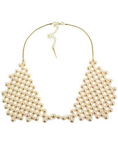 Gold Pearls Collar Necklace