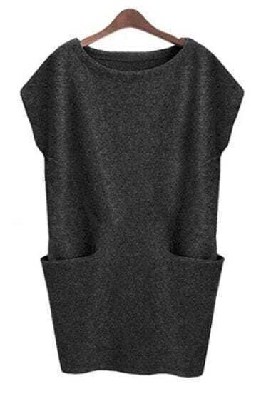 Dark Grey Sleeveless Pockets Bodycon Sweater Dress