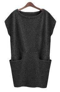 Dark Grey Sleeveless Pockets Bodycon Sweater Dress