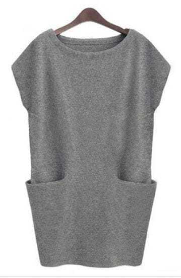 Grey Sleeveless Pockets Bodycon Sweater Dress