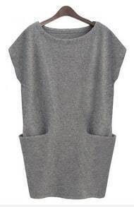 Grey Sleeveless Pockets Bodycon Sweater Dress