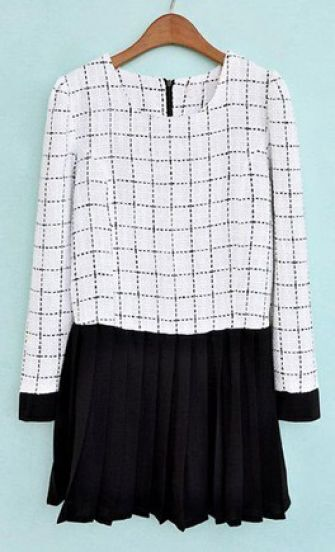 White Tweed Plaid Contrast Chiffon Pleated Dress